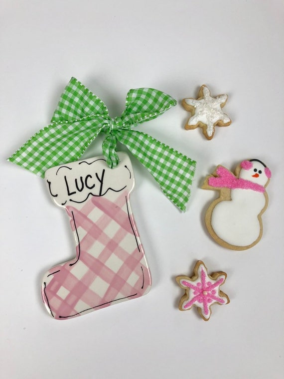 My first Christmas ornament, pink stocking ornament, pink plaid ornament, preppy christmas ornament