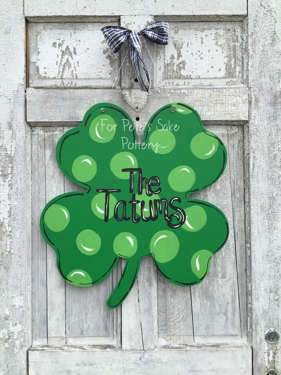 St. Patrick's Day, Shamrock, Four leaf clover, hand painted,  Door hanger, wall hanging, welcome sign