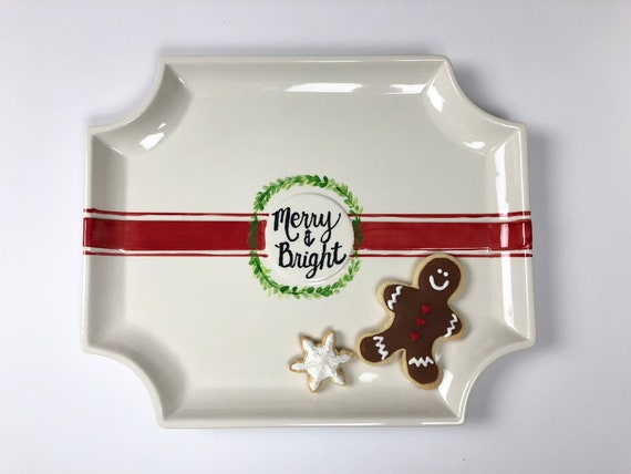 Hand painted, Christmas platter, Merry and Bright platter,   Christmas serving tray, farmhouse Christmas platter, Christmas plate
