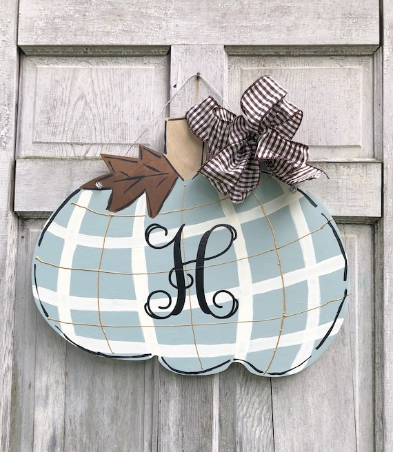 Preppy plaid, Pumpkin, door hanger, Autumn door hanger, Halloween door hanger, pumpkin, door hanger,  brown plaid pumpkin, fall