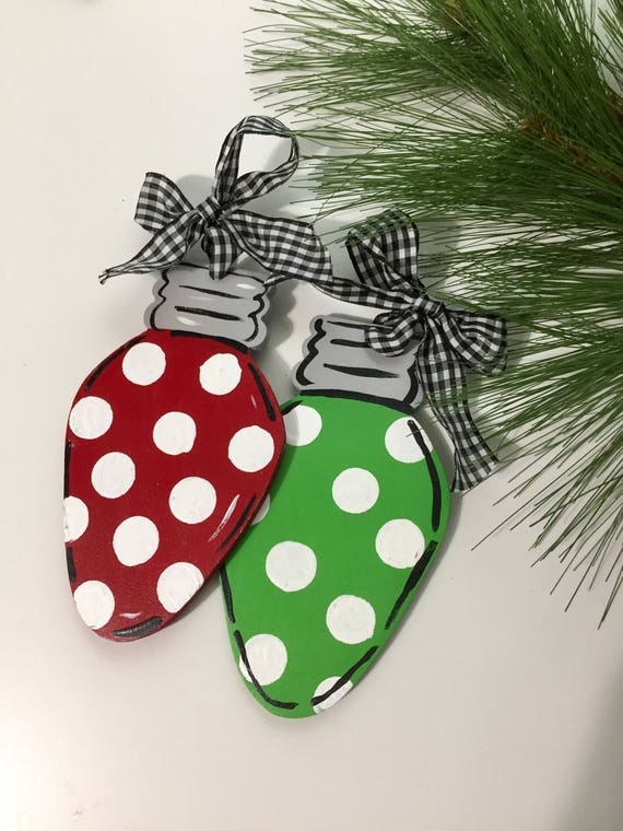 Personalized, christmas tree light ornament,  Hand painted ornament, christmas light ornament, personalized kid's ornament, retro ornament