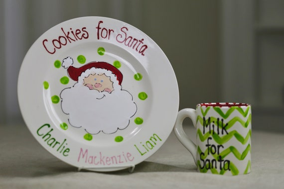 Cookies for Santa plate, custom cookies for santa plate, cookies & milk for Santa set, personalized Santa plate