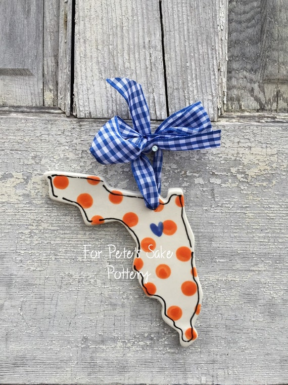 Florida Christmas ornament, Florida State ornament, State of Florida ornament, Home ornament, ceramic state ornament