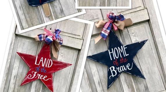 American the Beautiful, star door hanger, USA star sign, american door hanger, 4th of July door hanger, Patriotic star Door Hanger, july 4th