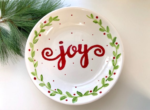 Christmas bowl, hand painted pasta bowl, Christmas serving dish, Joy platter, Hand painted, holiday bowl, Serving dish with laurel wreath