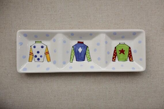 KENTUCKY DERBY platter, jockey silk plate, three section derby dish, Kentucky Derby party, Derby platter, Horse racing platter, silks plate