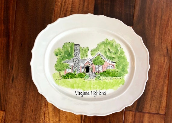 Hand painted, personalized, illustrated Home, victorian platter, custom house platter, new home gift,  anniversary platter, home gift