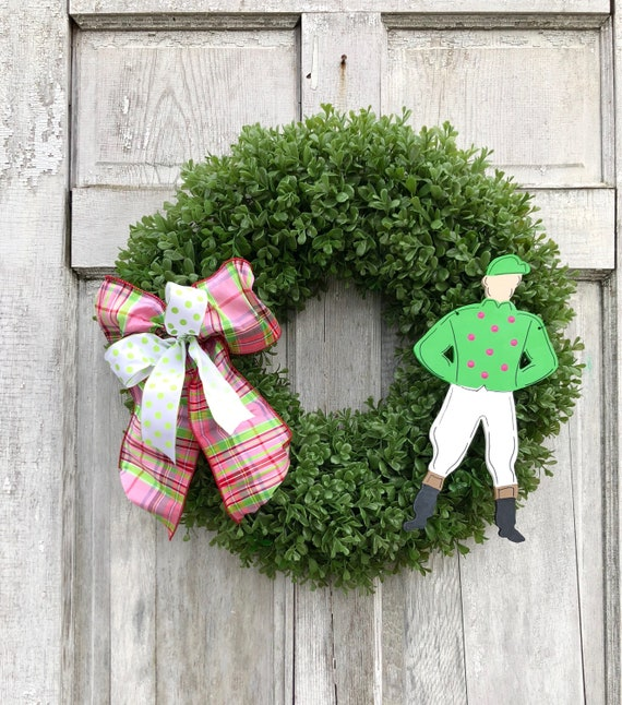 Derby wreath, Jockey door hanger, Derby, boxwood wreath, Kentucky Derby decoration, Spring horse racing wreath, Jockey wreath