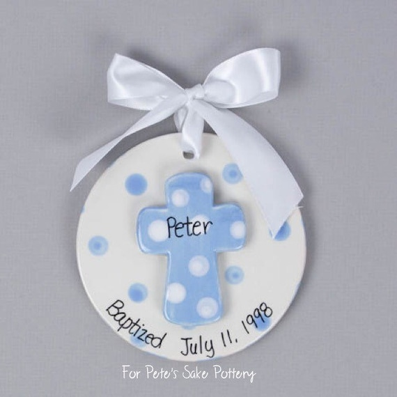 Boy Christening gift, Baptismal ornament, Dedication gift, God Parent gift, baptism cross, baptism gift