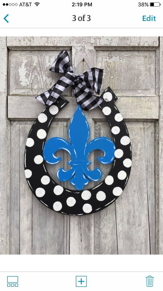 Fleur de Lis  door hanger, horseshoe door hanger, Kentucky Door hanger, Horseshoe sign, Monogram Horseshoe door hanger