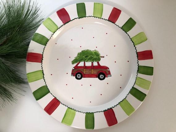 Custom Christmas Platter, Christmas cookie plate, Personalized Christmas plate, Christmas platter, Hand painted Christmas platter