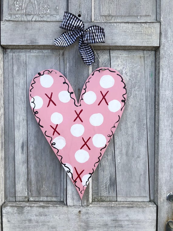 Valentine's Day, Heart, Polka dot heart, whimsical heart, hand painted, personalized, custom,  door hanger, wall sign