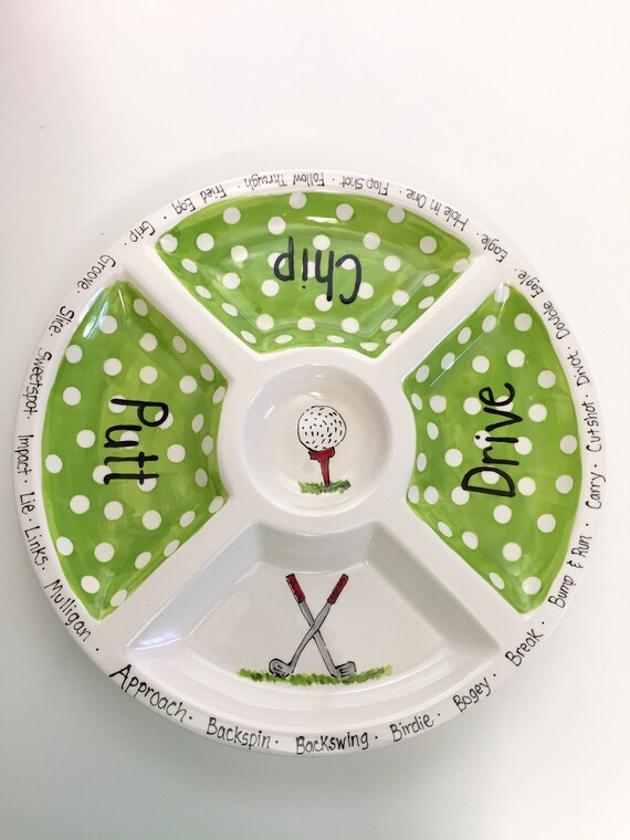 GOLF sectional serving platter, Golf theme chip and dip, ceramic golf plate, ladies golf outing plate, personalized golf platter, golf plate