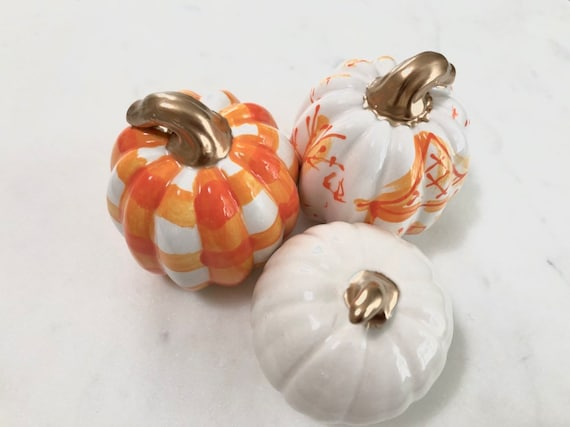 Orange Hand painted, ceramic, chinoiserie pumpkin set, halloween chinoiserie pumpkin, buffalo plaid pumpkin, plaid pumpkin, mini pumpkin