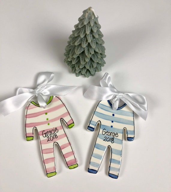 Pastel, baby ornament, personalized ceramic Christmas ornament, my first Christmas ornament,  kids pajama ornament, christmas jammies