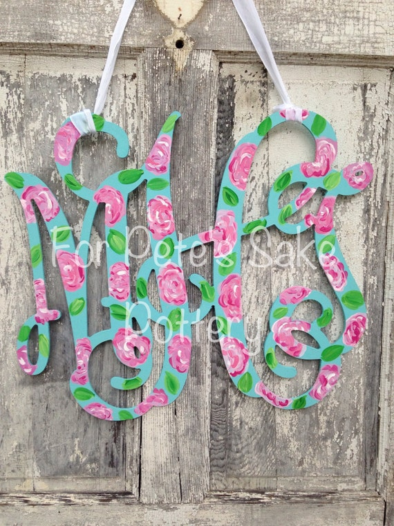 Hand Painted wood monogram,  Painted monogram, Wood monogram, pattern monogram,  Monogram, Dorm monogram, Monogram gift, Monogram sign