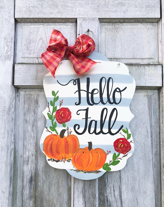 Hello Fall Door hanger, autumn door hanger, hello fall, pumpkin, door hanger, fall door hanger