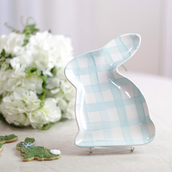 Gingham easter dish, bunny dish, chinoiserie easter dish, bunny tray, ceramic bunny dish, easter table decor, easter decor