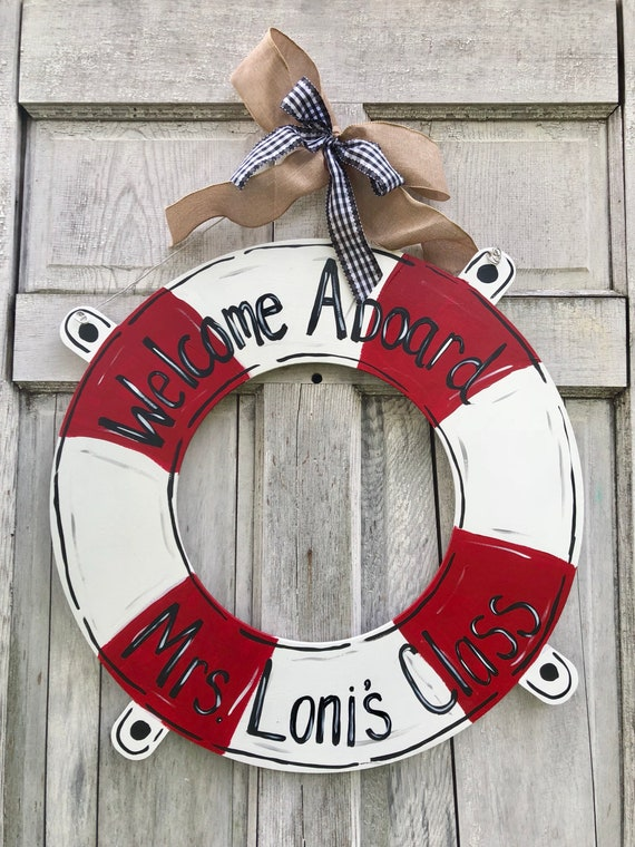 Life preserver door hanger, Lake door hanger, Pool theme door hanger, On the river sign, classroom door hanger