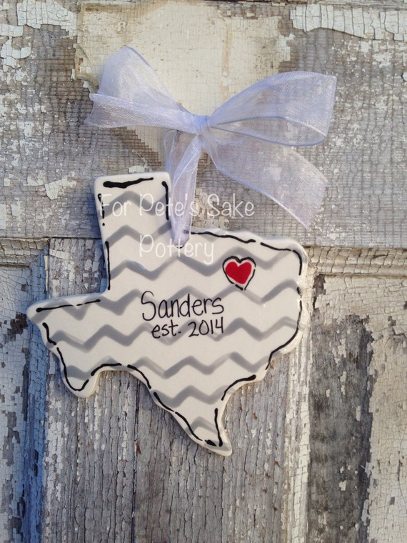 Texas state ceramic ornament