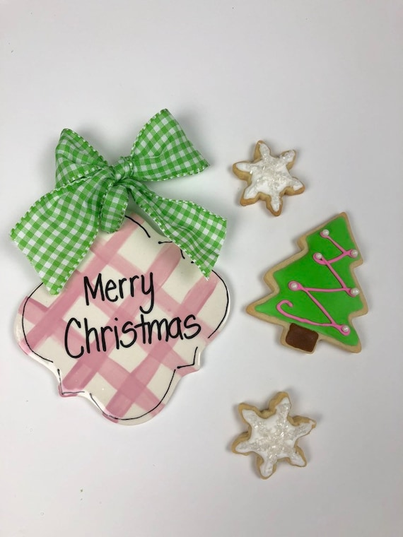 Hand painted, gingham Christmas ornament, preppy gift tag, preppy ornament, pink gingham ornaments