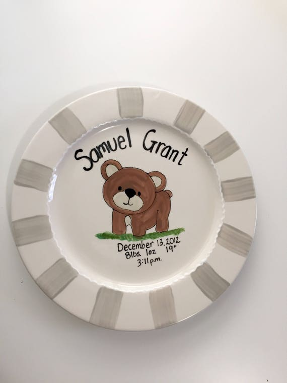 Personalized Birth plate, Baby girl plate, Baby boy plate, woodland baby plate, Ceramic Birth plate, Hand painted child's plate