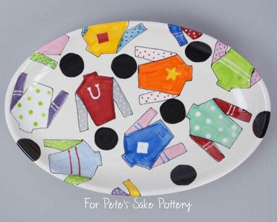 Kentucky Derby pottery, Jockey silk platter, Horseshoe platter, Horse racing plate, Derby platter, Horse racing platter, KY Derby gift