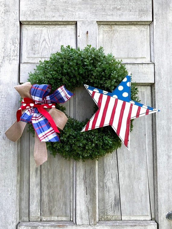 4th of July wreath, american wreath, july 4 door hanger, artificial boxwood wreath, summer door hanger, patriotic wreath, Stars and Stripes