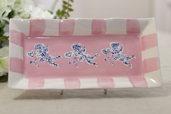 Blue and white valentines platter, chinoiserie platter, Cupid plate, chinoiserie style tray,  valentine chinoiserie, valentine dish