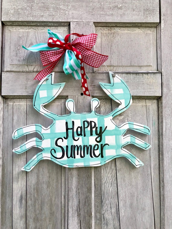 Whimsical, hand painted, crab door hanger, personalized, summer door hanger, New England crab sign, monogram crab sign, monogram crab