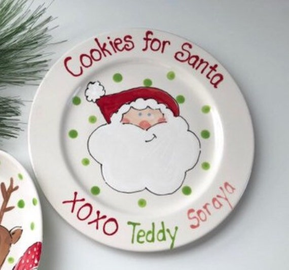 cookies for Santa plate, personalized cookies for Santa plate, cookies for Santa, Christmas cookie plate, custom, cookies for Santa