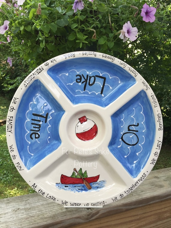 LAKE theme platter, at the lake dish, Lake chip and dip, lake gift,  lake platter, lake theme serving platter, boating platter