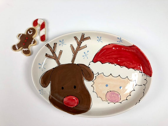 Santa and rudolph platter, hand painted, Christmas platter, cookies for Santa, hand painted, Christmas plate, Christmas serving platter