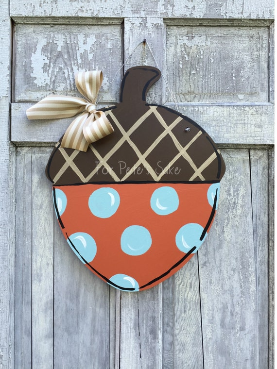 Acorn Door hanger, Fall door hanger, autumn door hanger, hand painted door hanger, Acorn sign, thanksgiving door hanger