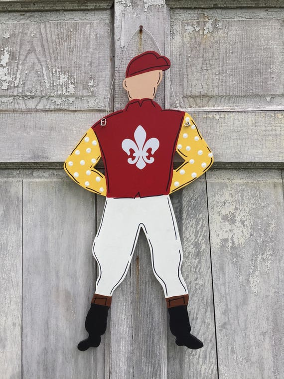 Large Jockey door hanger, Derby wreath attachment, Kentucky Derby decoration, Spring horse racing, Jockey sign, Derby party decoration