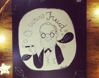 Postcard Funny Portrait Freud
