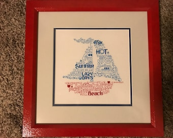 Sailboat Word Art Cross Stitch