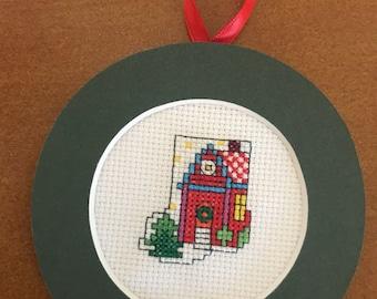 Christmas House Mini Stocking Cross Stitch Ornament