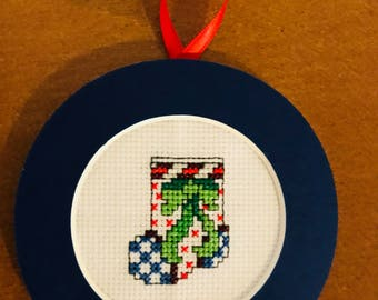 PERSONALIZED Christmas Bow Mini Stocking Cross Stitch Ornament