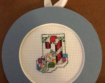 Candy Cane Mini Stocking Cross Stitch Ornament