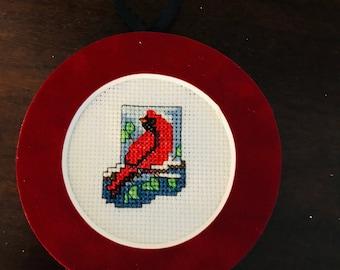 Cardinal Mini Stocking Cross Stitch Ornament