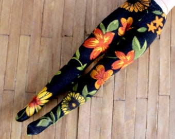 Blythe Licca Pullip  vintage black autumn  flower print tights