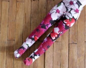 Middie Blythe  vintage pink flower print tights