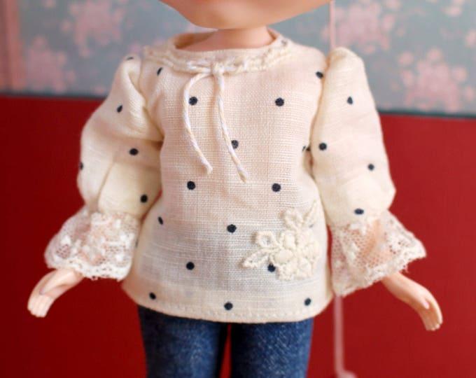 Blythe Momoko Pullip vintage peasant blouse polkadot embroidery