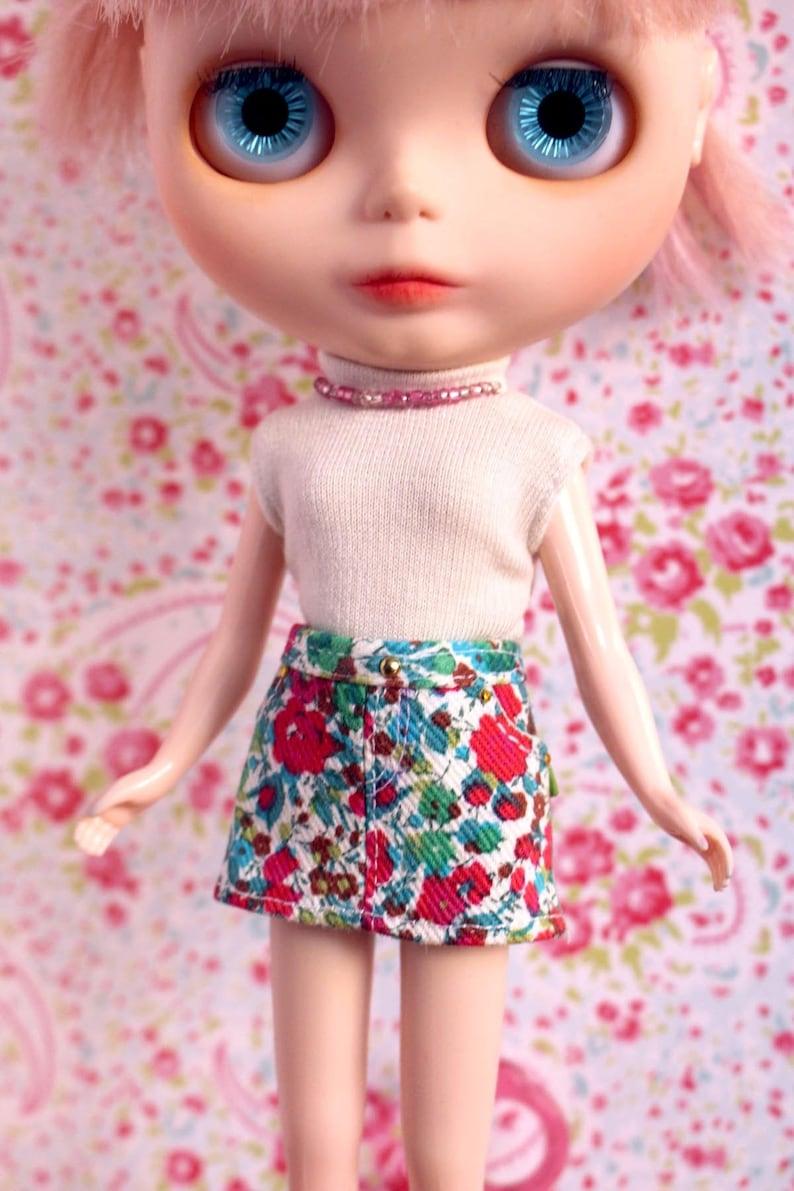 Blythe Licca Pullip Liberty flower print denim skirt image 0