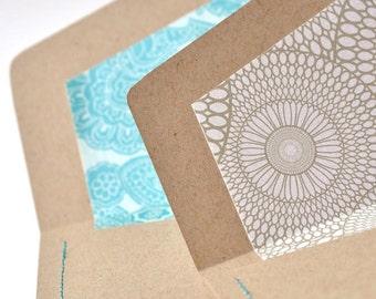 Handsewn lined envelopes - kraft / turquoise / white - set of 2