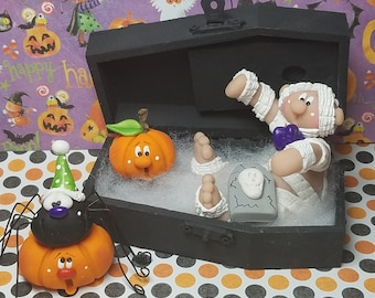 FREE SHIPPING! Polymer Clay Mummy and Jack o'lantern sitting in wooden coffin with his partying spider friend who is on another JOL