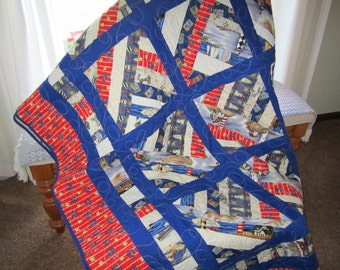 Lighthouses, Boats and Anchors-Quilt-Twin Size REDUCED