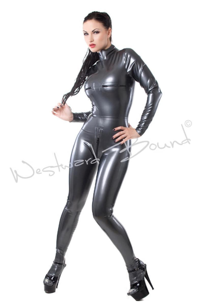 0c8b4fa092 Rubber Latex Catsuit zipper breasts and crotch MadeDesigned