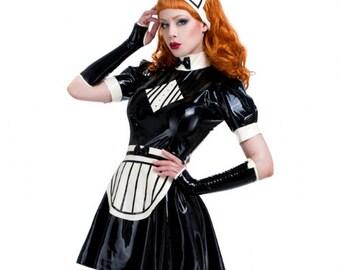 Missy Maid rubber latex Dress  - Zip back Uniform Includes cap and apron **SALE** R1645